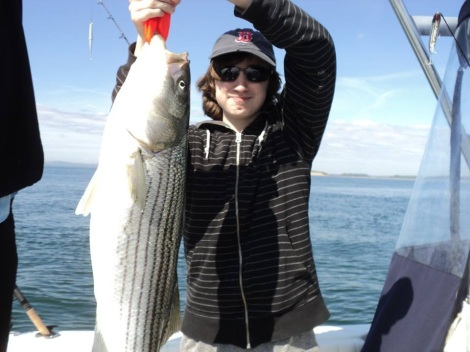 Boston Harbor striped bass almost as tall as Byron