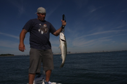 Couple nice stripers with the Boston Skyline in the background